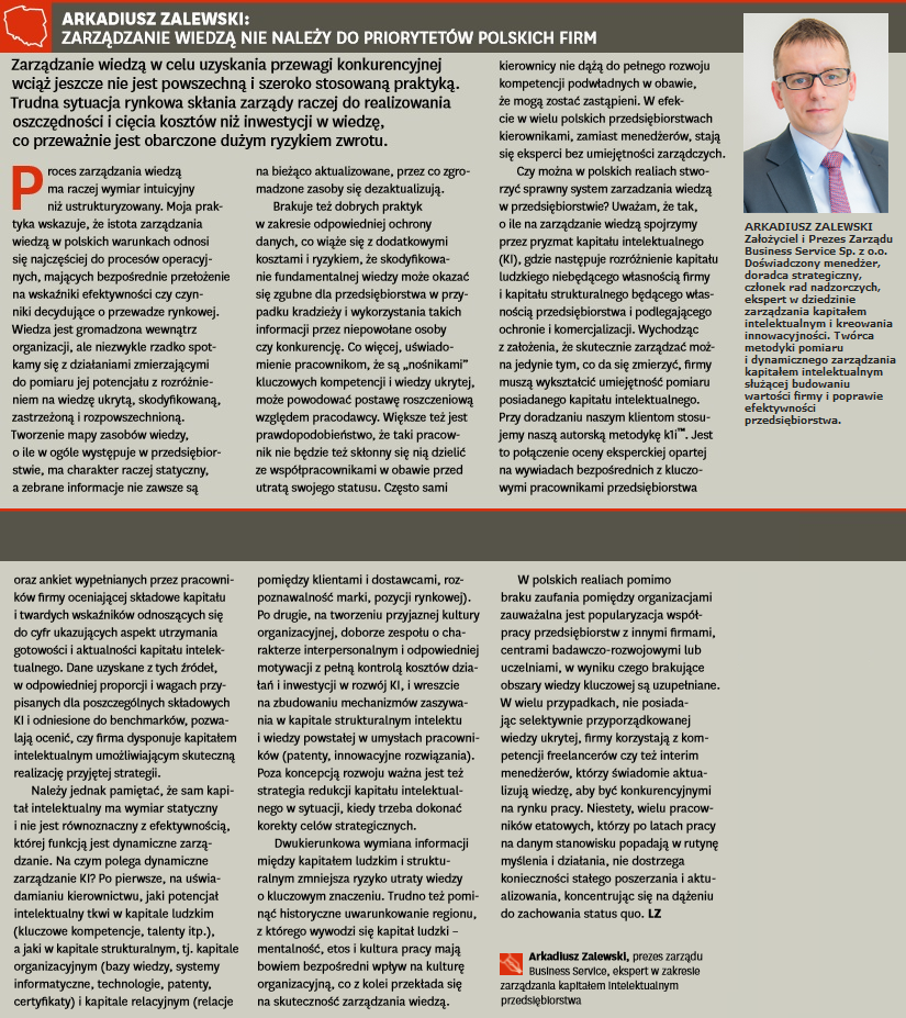 """Arkadiusz Zalewski - Harvard Business Review POLSKA - komentarz w artykule pt. """"Zarządzanie wiedzą o podstawowym znaczeniu dla firmy"""""""